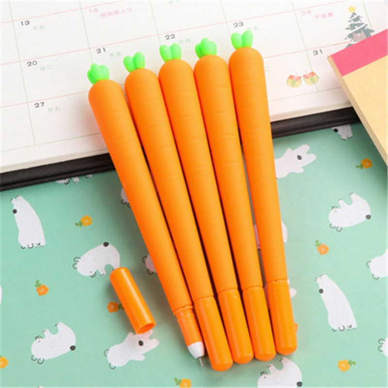 2pcs Carrot Gel Pen Cute Automatic Drawing Pen For Gift Creative Stationery School Office Supplies Writing Black Gel Pen