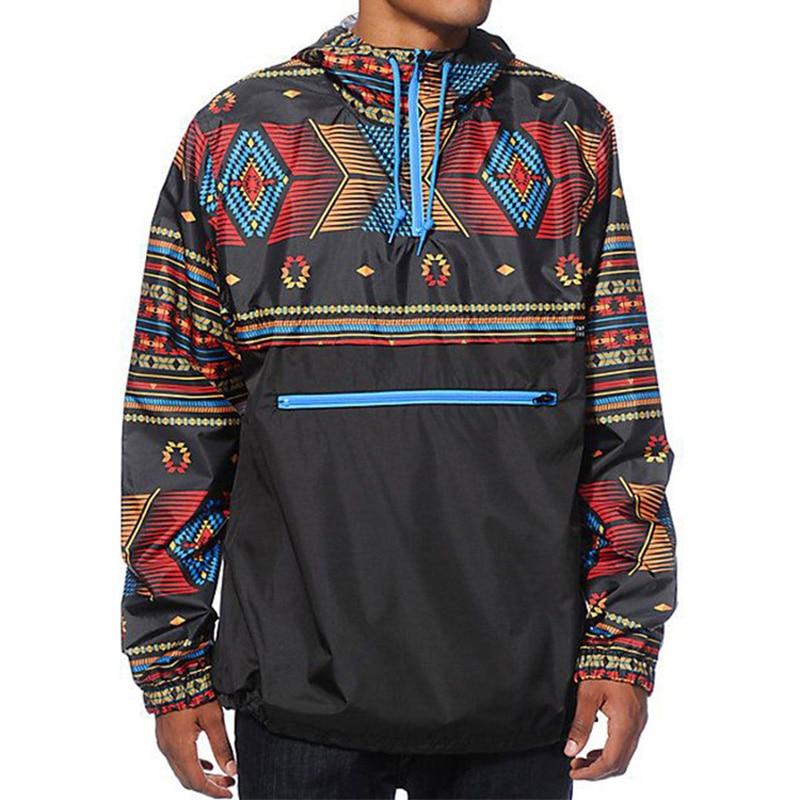 Men Fashion Hooded Sweatshirt Casual Cool Long Sleeve Zip Pocket Tether Trench Hip Hop Print Retro Leisure Warm Jackets Hoodies