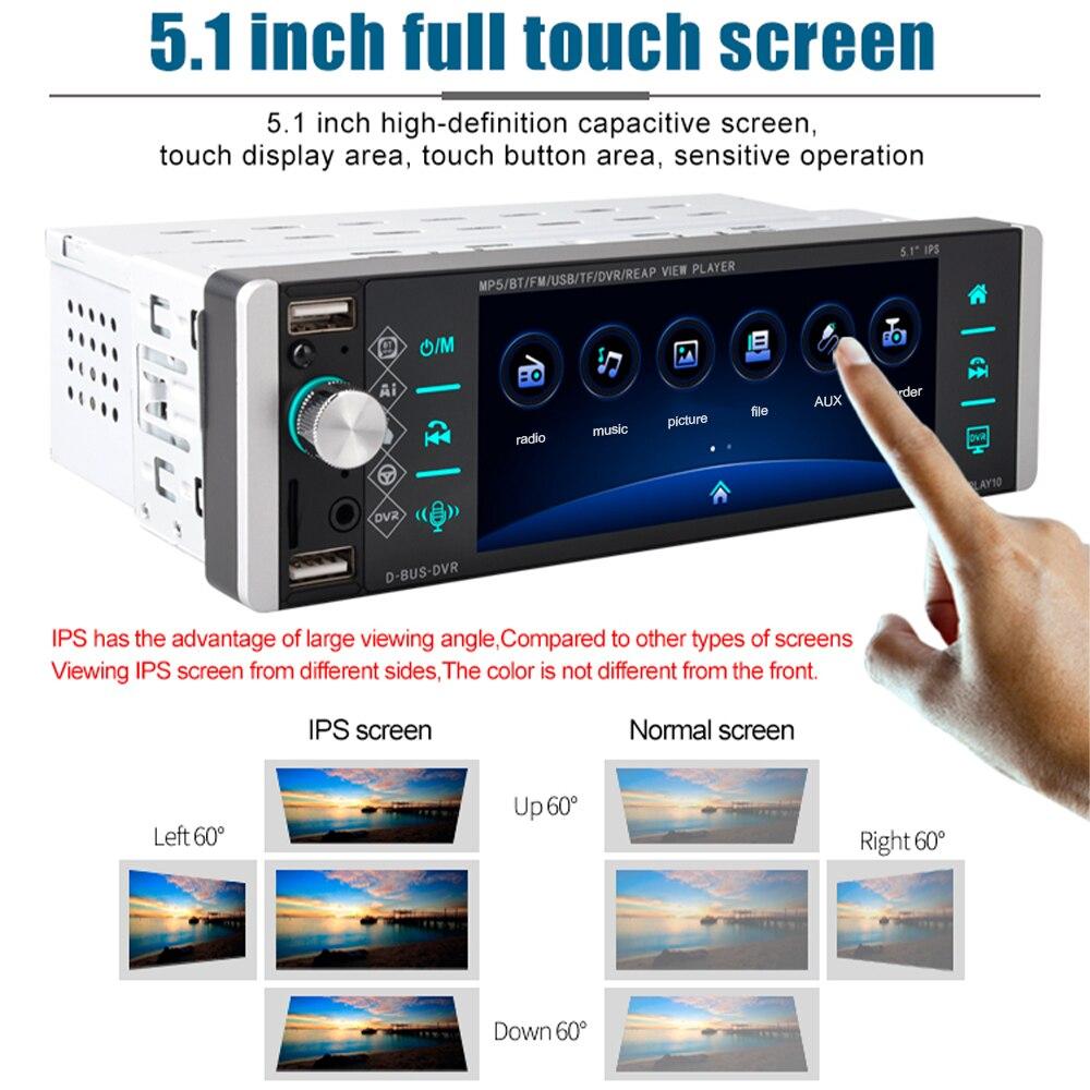 Podofo Bluetooth 1 DIN Stereo Autoradio Radio samochodowe 12V w desce rozdzielczej 1 Din FM Aux odbiornik wejściowy SD USB MP3 MMC WMA samochodowy odtwarzacz Audio