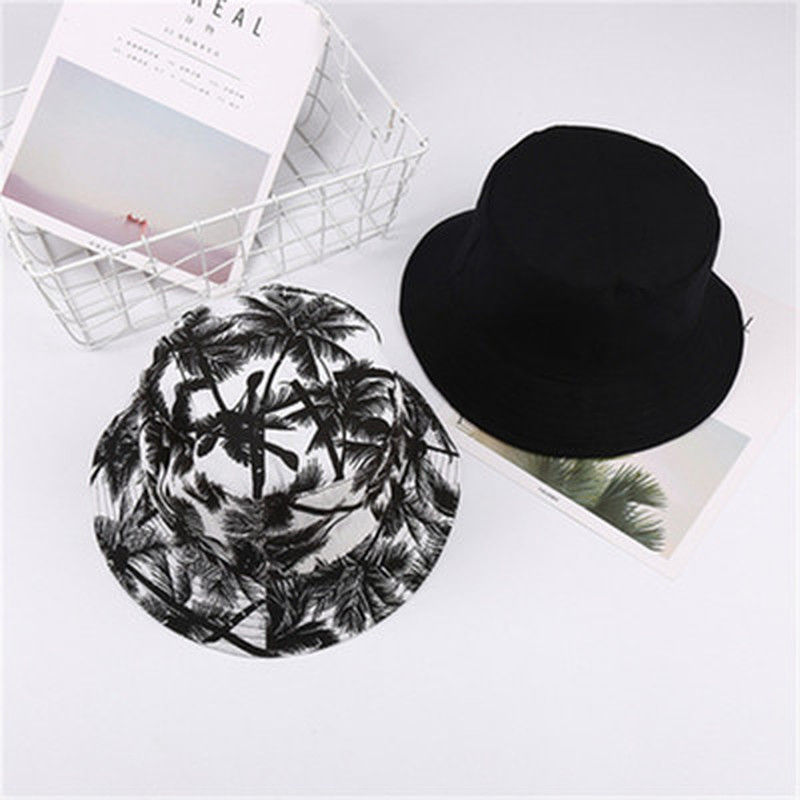 2020 New Summer Bucket Hat Fashion Women And Men Print Cap Canvas Muts Two-sided Outdoors Sun Hat Sombrero Cap Casquette