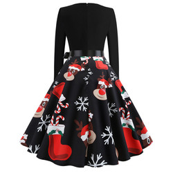 Vintage Dress Women Long Sleeve Print Christmas Dress Winter Elegant Swing Party Dresses Robe Femme Casual Rockabilly Vestidos 3