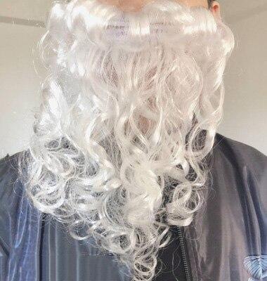 Adulte père noël vieil homme rouge vêtements de noël Costume de père noël Costume de luxe avec barbe blanche ensemble de costumes de père noël en peluche - 2