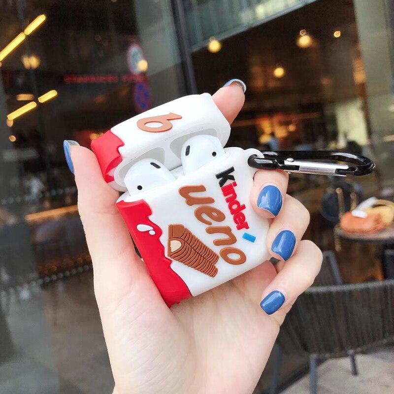Горячие Kinder Bueno сэндвич шоколадные Мягкие силиконовые Беспроводные наушники с зарядным чехлом для Apple AirPods 1 2 Bluetooth чехол для гарнитуры|Аксессуары для наушников|   | АлиЭкспресс