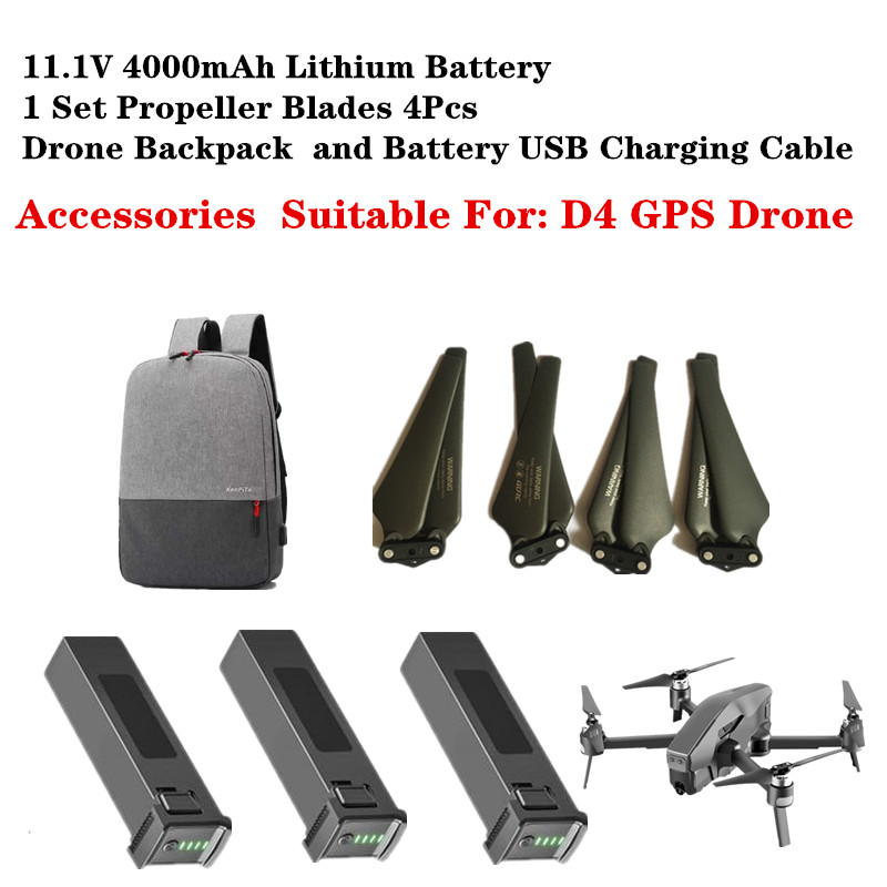 D4 Drone Original Accessories 11.1V 4000mAh Lithium Battery ProPeller Blades Spare Parts Suitable For D4 Quadcopter GPS RC Drone|Parts & Accessories| |  - title=