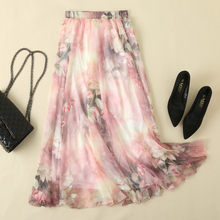 Women Floral Print Skirt Long Female Boho Style Fashion Elastic High Waist Chiffon Casual Beach Skirts Saias 10 Color Summer western style color block broad stripe print elastic waist chiffon maxi dress for women