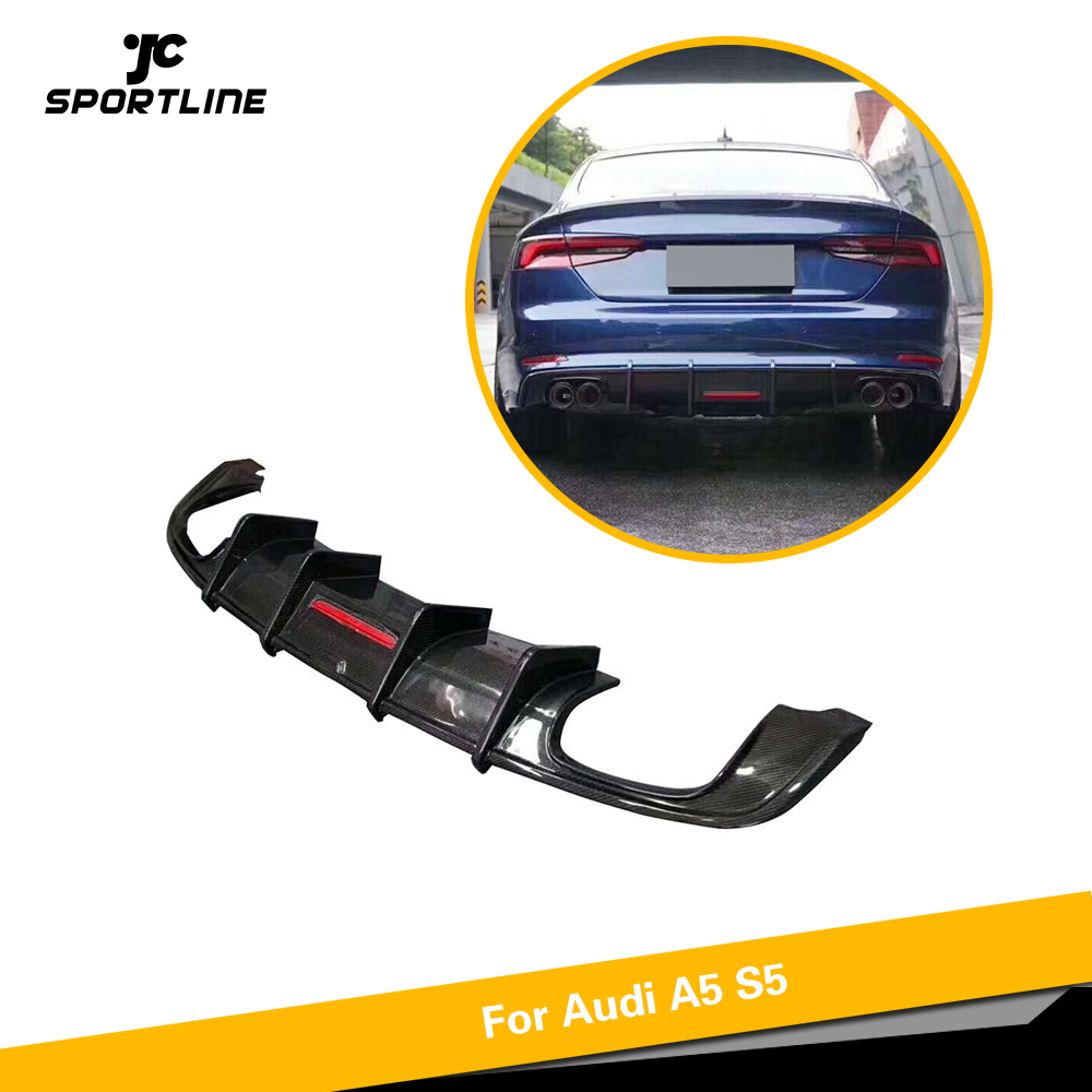Car Rear Bumper Diffuser Lip Spoiler For Audi A5 S line S5 Sedan 4 Door 2017   2020 Carbon Fiber Diffuser With LED Light|Bumpers|Automobiles & Motorcycles - title=