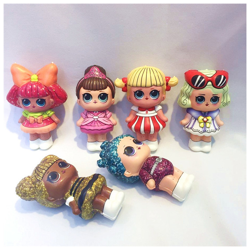 6pcs/lot 12CM Squishy Lol Mini Squishy PU Set Toys Action Figure Dolls Figures Stress Relief Funny Gift Doll Toy For Kids Girls