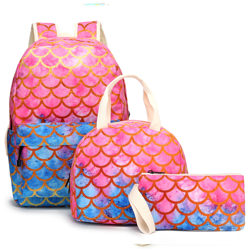 3pcs/set Children Backpack Mermaid  Mochila Feminine Computer Bags Schoolbag+ Pencil Bag+Lunch Bag Sets Bags For Gilrs