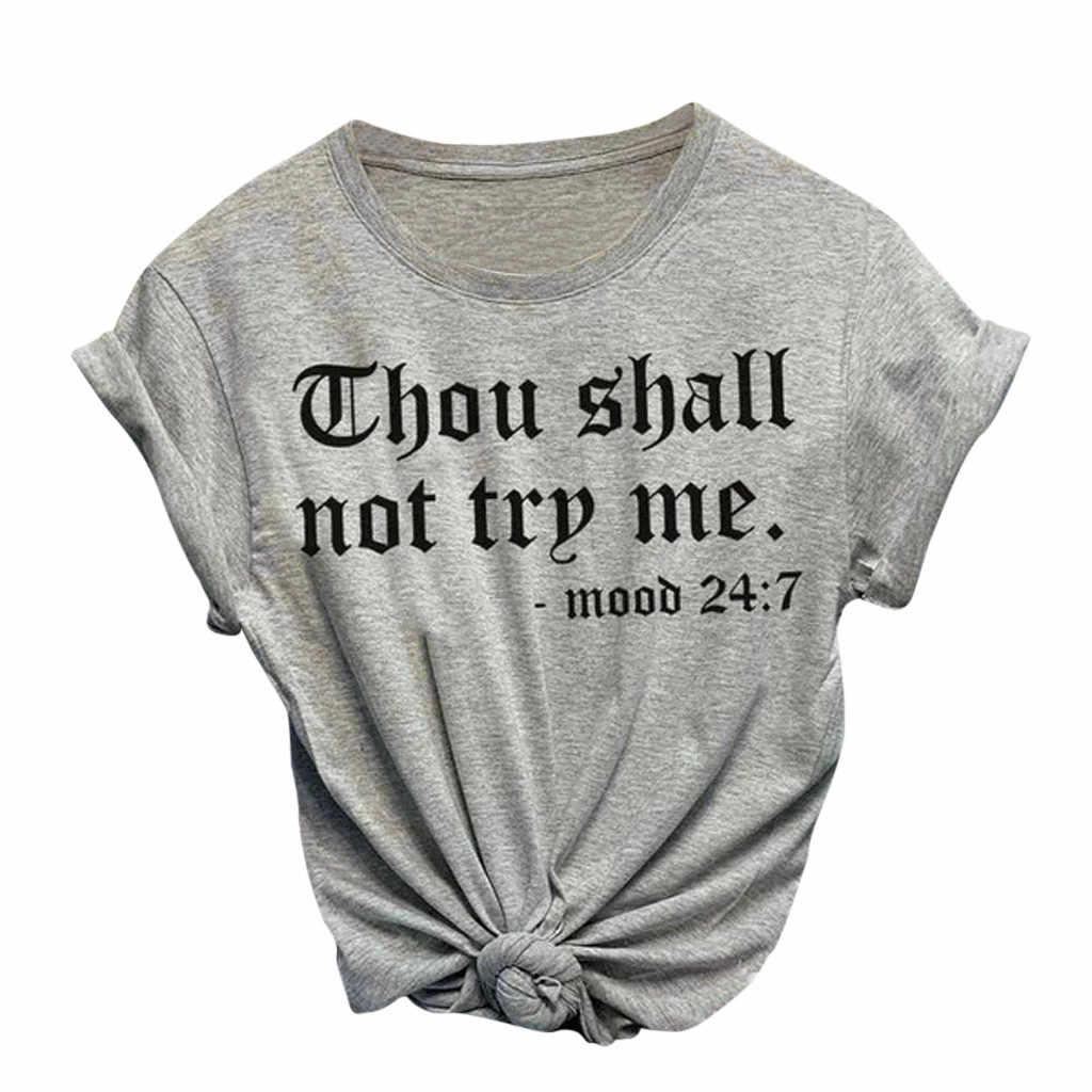 レタープリント女性の Tシャツ綿原宿夏の女性トップ Tシャツレディーガールおかしいラウンドネック Tシャツヒップスターフォロー