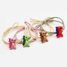 2Pcs/set PVC Dinosaur Hair Bands For Girls Cute Candy Color Polyester Knot Childern Ropes Band Kids Accessories