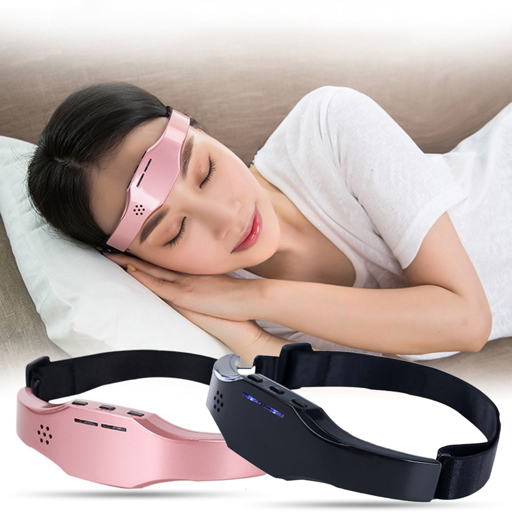 Electronic Headache and Migraine Relief Head Massager Insomnia Release Rechargeable Therapy Machine Sleep Monitor Health Care