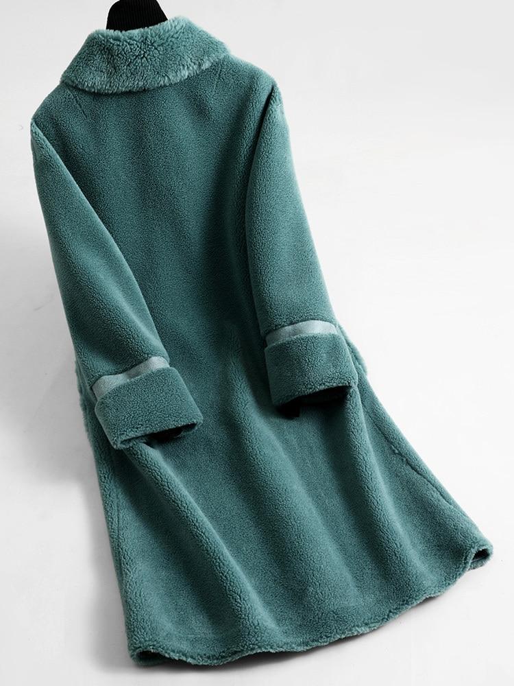Coat Fur Real Female Real Wool Coats 2020 Winter Jacket Women Sheep Shearling Fur Long Coat Outwear Abrigo Mujer MY3559 S