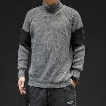 Korean Fashion Men Sweater Turtleneck 2019 Fashion Autumn Winter Pullover Casual Loose Stripe Blue Knitting Male Sweaters Jumper