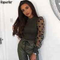 Rapwriter Elegante Transparente Schwarz Mesh Lange Puff Sleeve Patchwork Polka Dot Bluse Frauen 2019 Oansatz Stilvolle Hemd Tops Femme