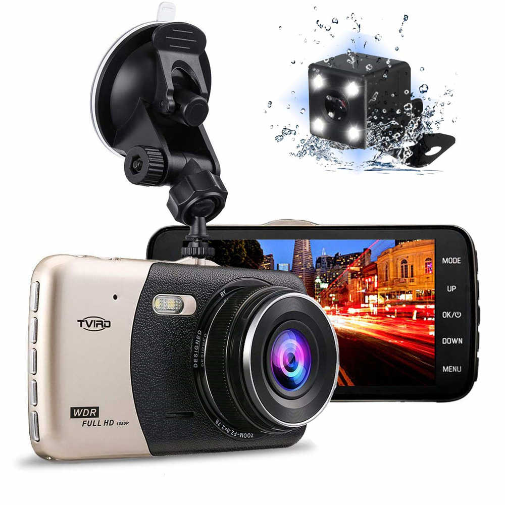 דאש מצלמת רכב DVR הכפול עדשת רכב המצלמה Full HD 1080P 4 ''IPS קדמי אחורי ראיית לילה וידאו מקליט g-חיישן חניה צג