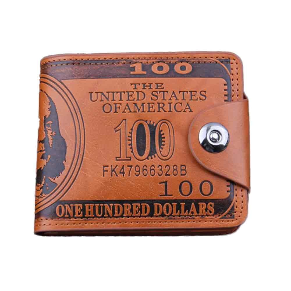 Billeteras con estampado de nuestro billete de dólar para hombre, cartera masculina de cuero marrón, con foto plegable, tarjetero # YL1, 100