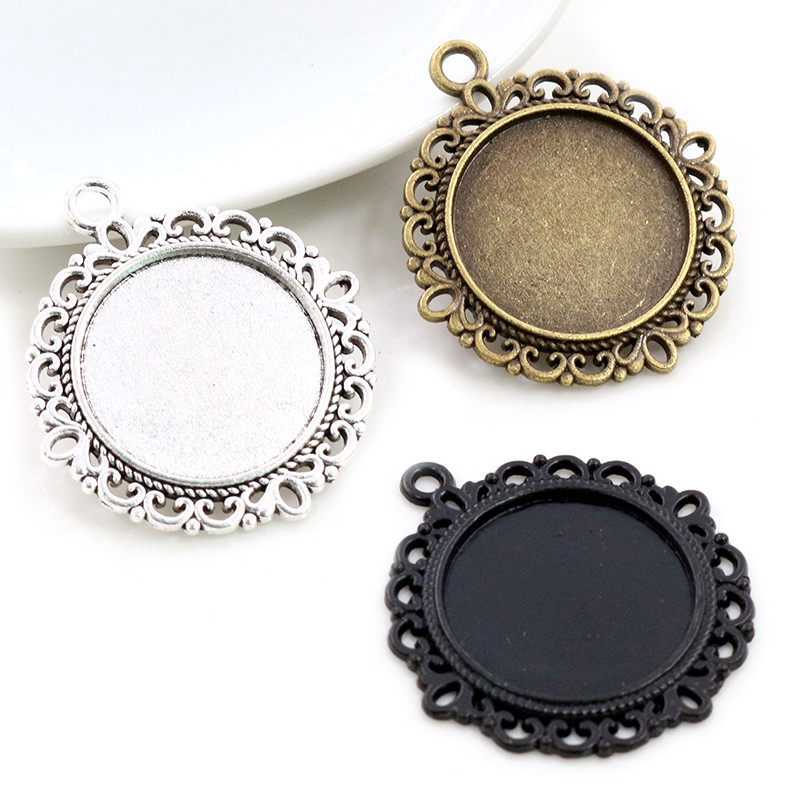 5pcs 20mm Inner Size Antique Silver Plated Bronze Black Classic Style Cabochon Base Setting Charms Pendant