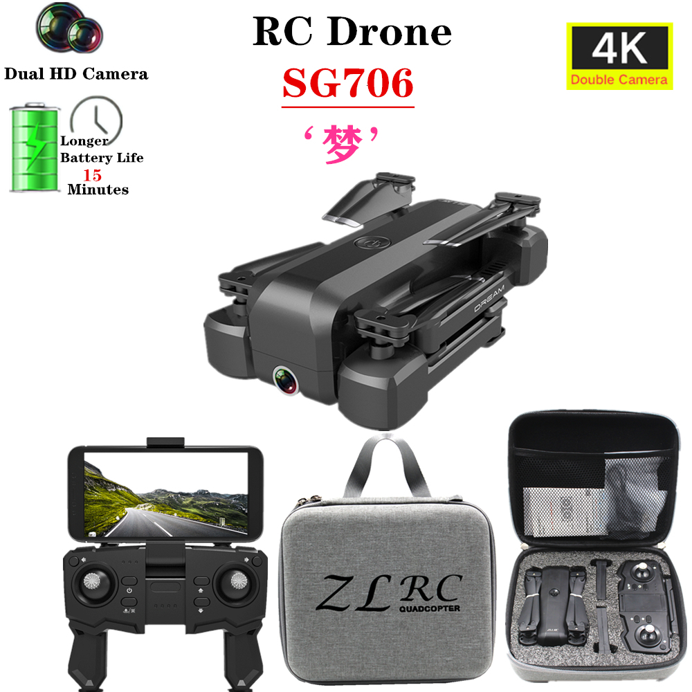 SG706 Drone 4K HD WiFi FPV Camera Profissional Selfie Foldable Quadcopter Stable Height RC Helicopter VS KF607 XS809S XS816 GD89