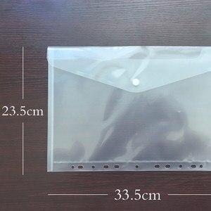 11 Hole Snap A4 File Bag Transparent Plastic Document Bag Data File Bag Storage Bag Student Test Paper Bag Office Supplies Bill