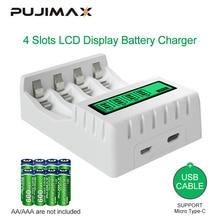 PUJIMAX 4 слота с ЖК-дисплей Дисплей Смарт Батарея Зарядное устройство Высокое качество Быстрая зарядка для 1,2 V зарядное устройство для никель-...