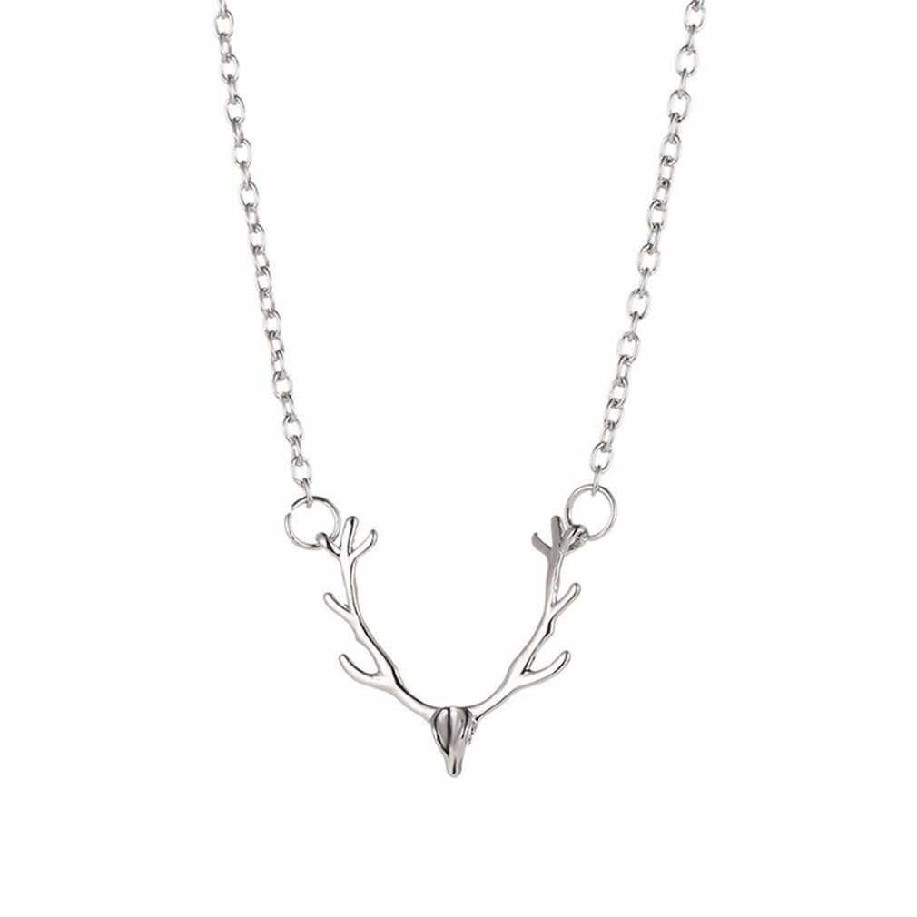 Collar de alce de cabeza de ciervo pequeño de Navidad de Cristo collar de Chokers de colores clásicos collares para mujeres niñas deseo joyería de moda