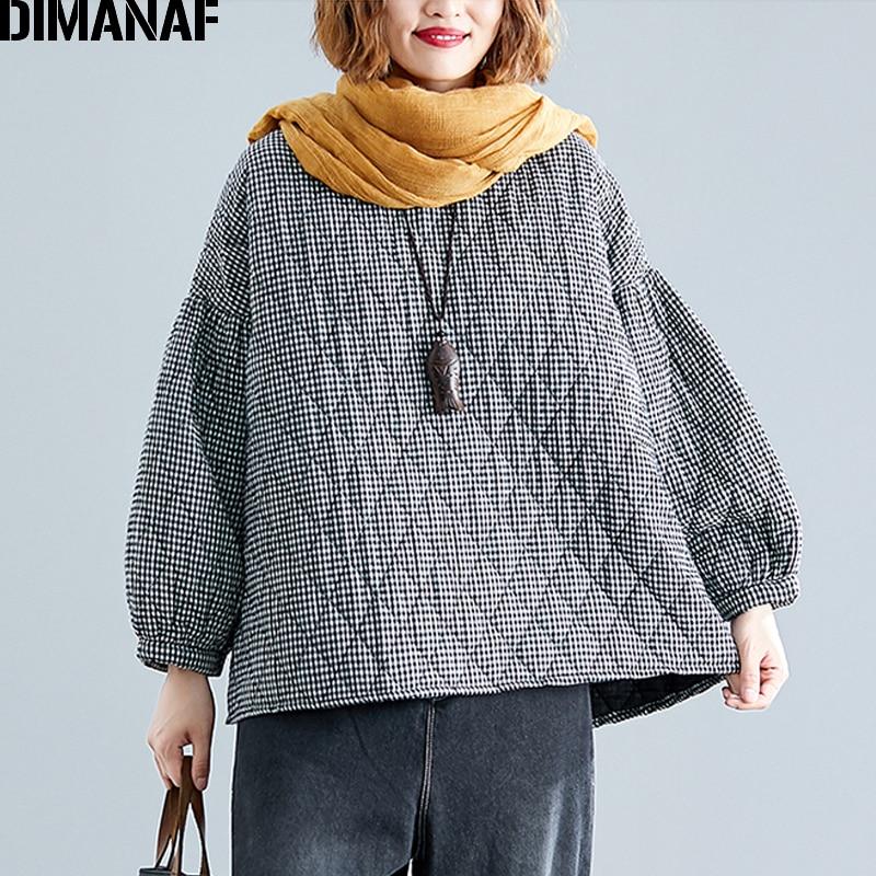 DIMANAF Plus Size Women Pullover Tops Autumn Winter Thick Cotton Clothing Loose Oversize Vintage Plaid Black Female Sweatshirts