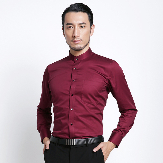 Banded Collar(Mandarin Collar) Solid Dress Shirts 2