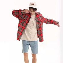 Новое поступление осенне-зимняя стильная модная клетчатая свободная повседневная мужская рубашка с длинными рукавами из хлопка с двойным карманом