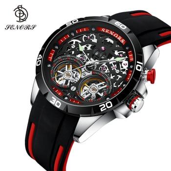 Senors Luxury Brand Men Automatic Watch Sport Wristwatch Double Tourbillon Skeleton 30m  Waterproof Clock Male Relogio Masculino