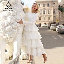 Swanskirt uzun kollu saten balo cüppe şeklinde gelinlik 2020 yeni zarif o boyun dantelli tül prenses gelin Vestido de novia YP02
