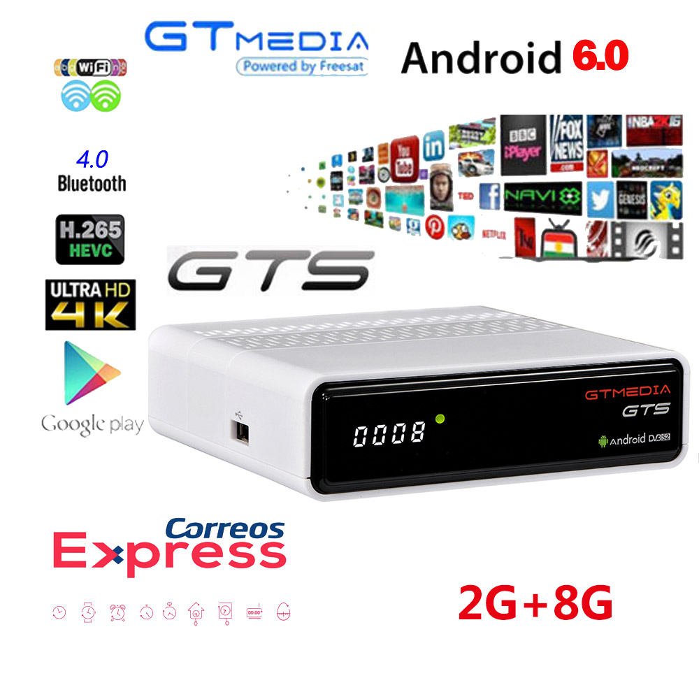 Freesat GTmedia GTS <font><b>Android</b></font> 6.0 4K Smart <font><b>TV</b></font> <font><b>BOX</b></font> Amlogic S905D Combo <font><b>DVB</b></font>-<font><b>S2</b></font> <font><b>Satellite</b></font> <font><b>Receiver</b></font> 2G/8GB BT4.0 Set top <font><b>box</b></font> <font><b>cccam</b></font> m3u image