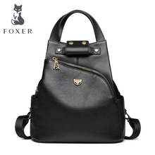 FOXER Brand Ladies Preppy Style Backpack Female Genuine Cow Leather Backpack Girl's School Bags Women Fashion Travel Bags nucelle brand design women s fashion color blocking cover casual cow leather girls ladies backpack shoulders travel school bag