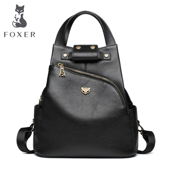 FOXER Brand Ladies Preppy Style Backpack Female Genuine Cow Leather Backpack Girl's School Bags Women Fashion Travel Bags new arrival women backpack 100% genuine leather ladies travel shoulder bags preppy style schoolbags for girls knapsack holiday