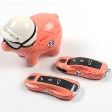 Дистанционный ключ чехол для ключей для Porsche Boxter Cayman 911 Panamera Cayenne Macan Boxter крышка модифицированный ключ оболочки в виде розовой свинки серии