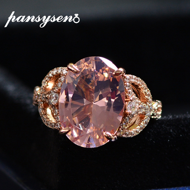 PANSYSEN Romantic 10ct Morganite Diamond Wedding Party Rings For Women Solid 925 Sterling Silver Natural Stone Fine Jewelry Ring