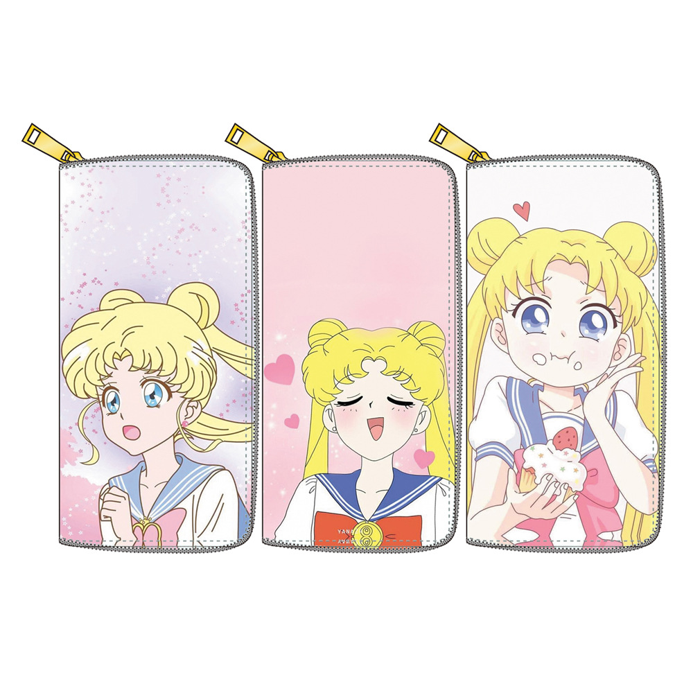 Fashion PU Leather Women Cartoon Sailor Moon Wallets Lovely Coin Pocket Ladies Long Clutch Card Holder Purse Cartera Mujer