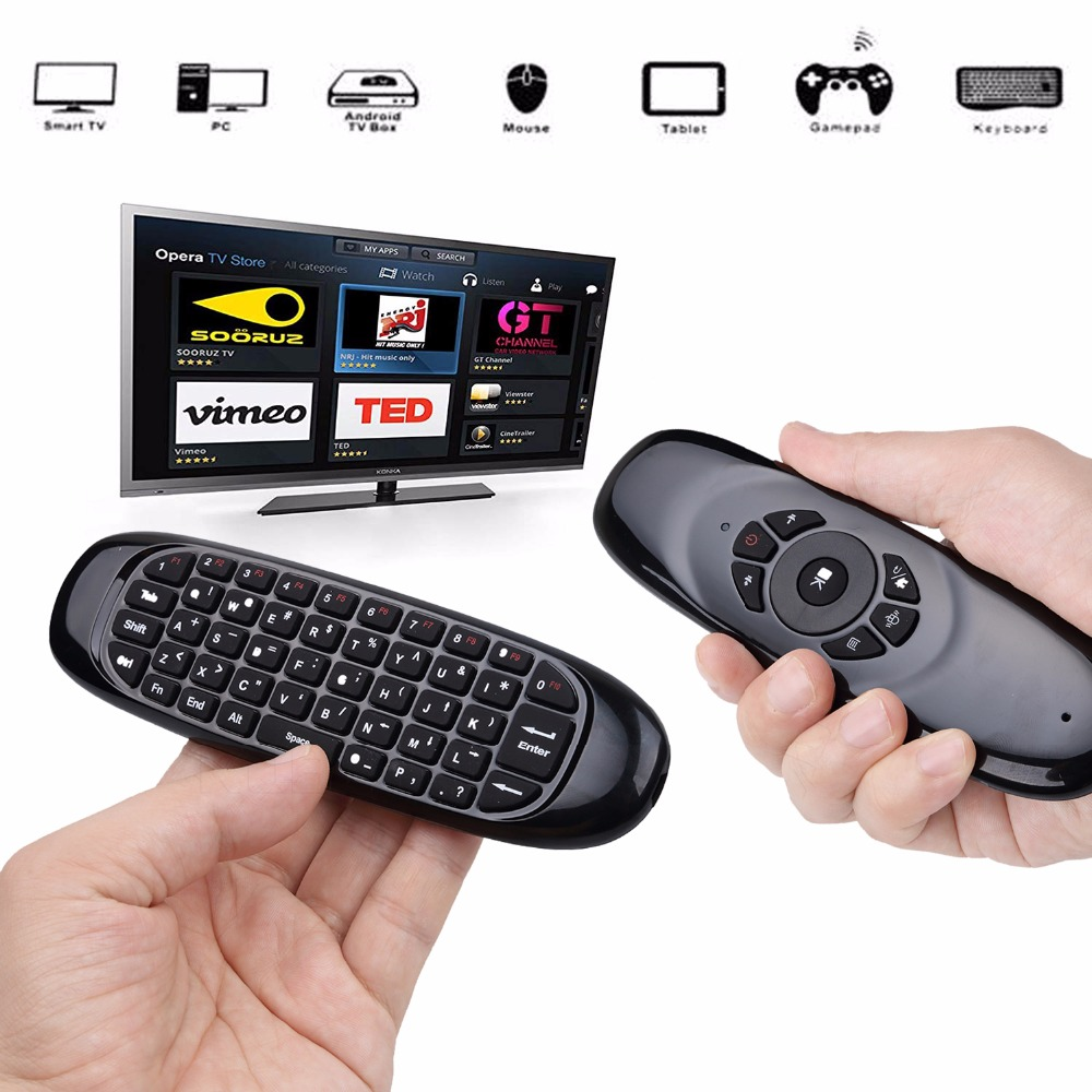 6 axes Gyroscope C120 2.4G Air Mouse Rechargeable Wireless Keyboard Remote Control for Android TV Box Computer English Version(1)