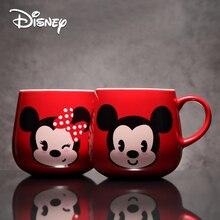 Disney Ceramic Cup Mickey Minnie Genuine Water Creative Cute Large-capacity Cartoon Mark with Cover Spoon Mug Coffee