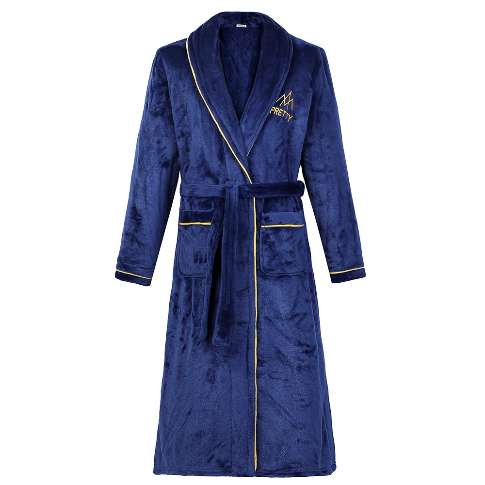 Autumn Winter Thicken Robe Men Kimono Bathrobe Gown Nightgown Warm Flannel Male Nightwear Intimate Lingerie Plus Size Homewear