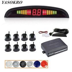 Yasopro Car Parktronic ledowy zestaw czujników parkowania z 8 czujnikami wyświetlacz podświetlenia monitor czujnika cofania system detektorów 12V w Czujniki parkowania od Samochody i motocykle na