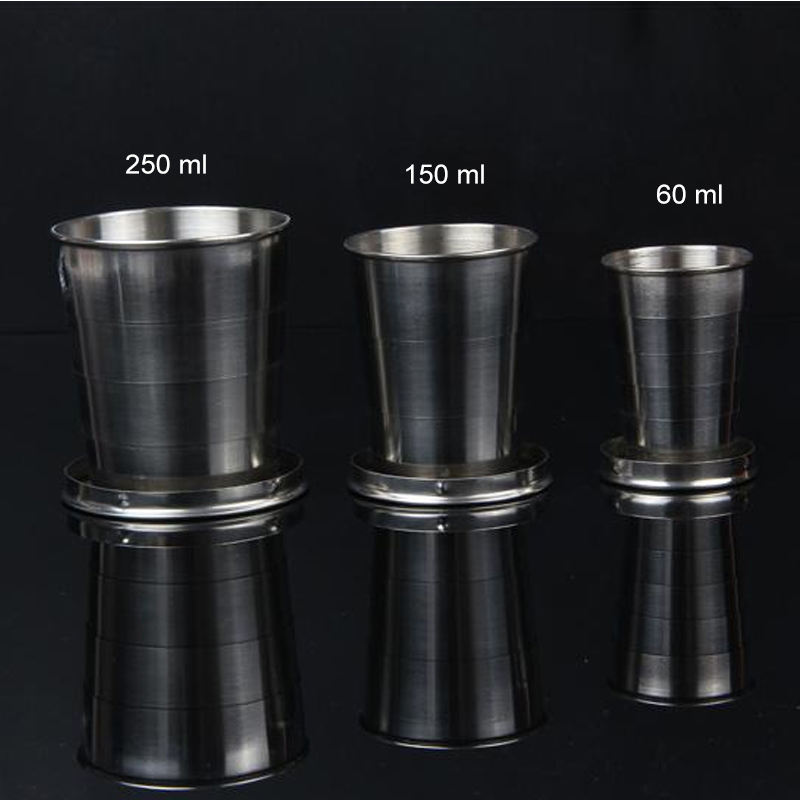 75ml 150ml 250ml Folding Cup Stainless Steel Retractable Collapsible Cups Demountable Portable Outdoor Travel Supplies Keychain 4