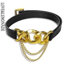 LOVE&LEMONADE Popular Geometric Metal Black PU Belt  ACC0027