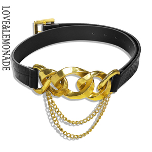 Image 1 - LOVE&LEMONADE Popular Geometric Metal Black PU Belt  ACC0027
