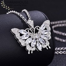 Charmhouse Silver 925 Necklaces For Women Collier Femme Butterfly Pendant Necklace With Zirconia Wedding Bridal Jewelry Gifts(China)