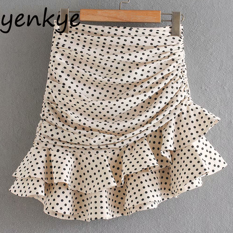 Vintage Polka Dot Draped Layered Ruffle Skirt Elegant Women Back Zipper High Waist Mini Skirt Summer Faldas XNGC9667