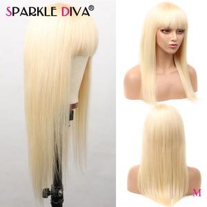 613 blond peruka z grzywką ludzkich włosów peruki dla czarnych kobiet 150 gęstości brazylijski prosto Remy włosy 613 blond pełna Maching peruka