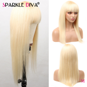 613 peluca rubia con flequillo de cabello humano pelucas para mujeres negras 150 densidad pelo brasileño recto Remy 613 rubia peluca completa Maching