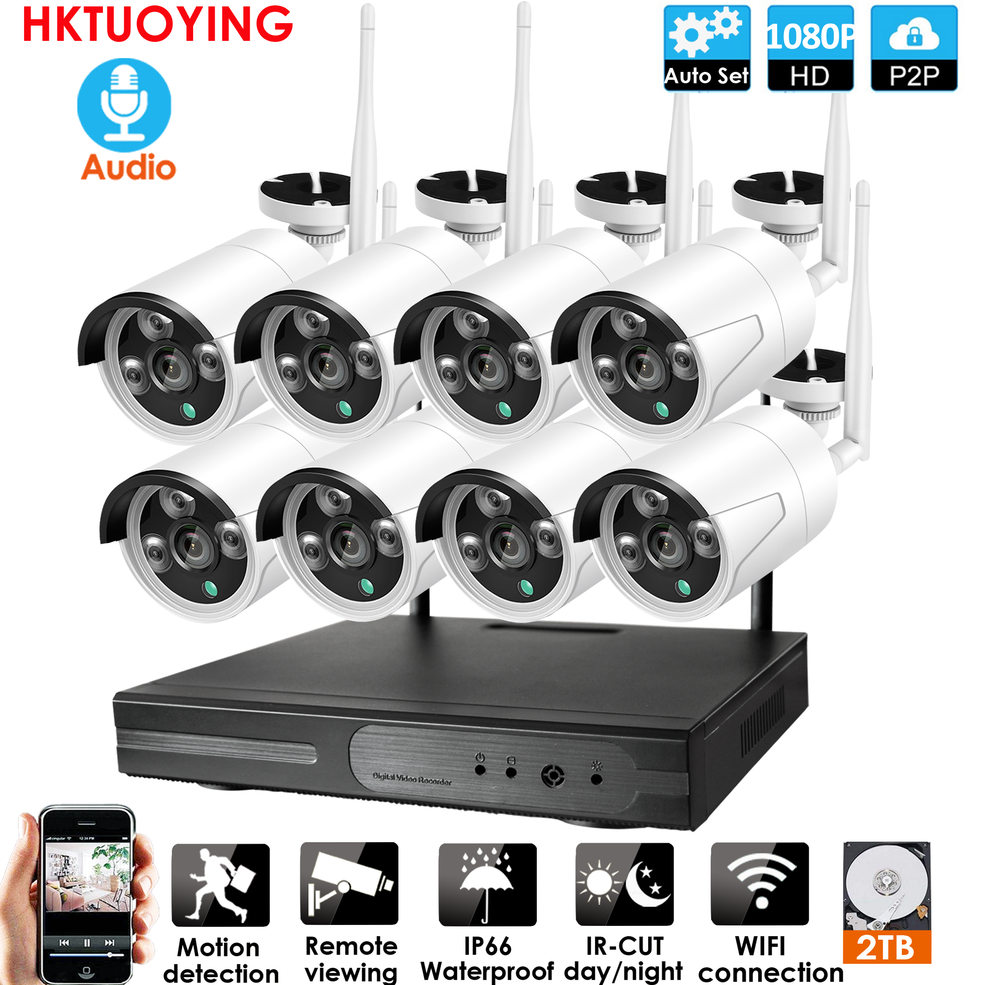 8CH Audio CCTV System Wireless 1080P NVR Outdoor Indoor P2P Wifi IP CCTV Security Audio 2.0mp IP Camera System Surveillance Kit