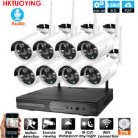 8CH Audio CCTV System Drahtlose 1080P NVR Outdoor indoor P2P Wifi IP CCTV Sicherheit Audio 2.0mp IP Kamera System überwachung Kit