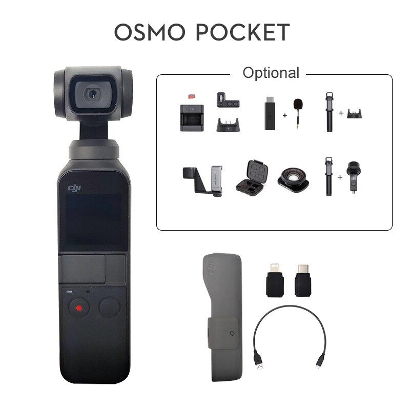 Беспроводная камера DJI Osmo Pocket, видеокамера с 3-осевым гидростабилизатором, 4K, 60 кадр/сек, адаптер для смартфона, расширенная комплектация с ка...